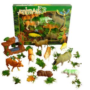 набор животных в коробке