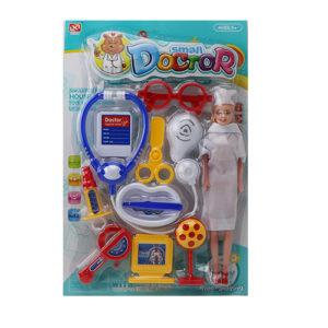 Набор доктора и кукла на блистере
