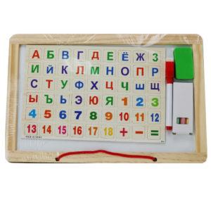 Доска для рисования с алфавитом деревянная