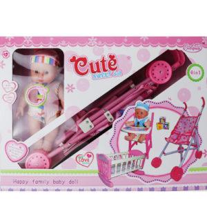 Кукла с коляской, кроваткой и стульчиком